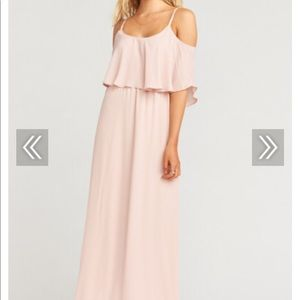 CAITLIN RUFFLE MAXI DRESS ~ BLUSH